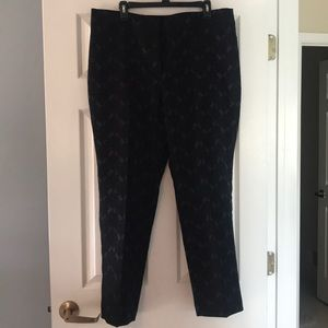 Ann Taylor NWT Navy Pants with Gray/blue jacquard